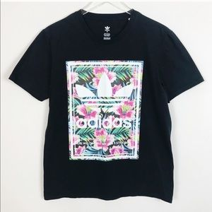 Adidas Graphic T-shirt Tropical Print Black Medium